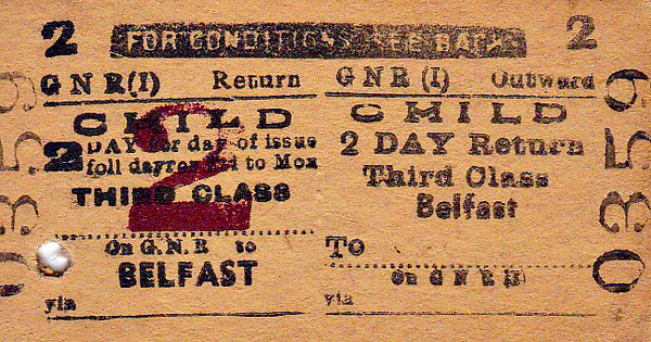 GREAT NORTHERN RAILWAY (IRELAND) TICKET - BELFAST - Third Class Child 2 Day Return to Blank Destination.