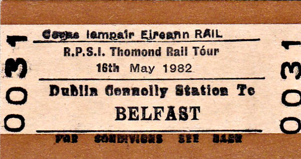 CORAS IOMPAIR EIREANN TICKET - DUBLIN - RPSI 'Thomond' Rail Tour to Limerick and return - Class S 4-4-0 No.171 SLIEVE GULLION took the train from Dublin Connolly to Athlone, where the train split. No.171 took one section to Limerick via Portarlington whilst Class J15 (101) 0-6-0 No.184 took the other via Athenry. On the second day, No.184 ran a short excursion to Foynes and then both engines took the train as far as Roscrea, where No.184 came off, and No.171 continued to Dublin Connolly and failed on arrival. The tour then returned with diesel power as far as Dundalk where it was terminated due to NIR industrial action.