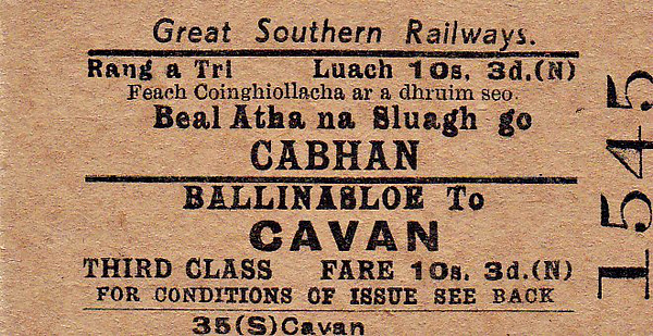 GREAT SOUTHERN RAILWAYS TICKET - BALLINASLOE - Third Class Single to Cavan - fare 10s 3d.