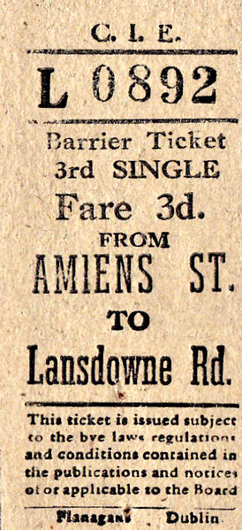 CORAS IOMPAIR EIREANN TICKET - DUBLIN AMIENS STREET - Third Class Single to Lansdowne Road - fare 3d. These have the appearance of tickets bought from a machine. None are dated, although all predate 1966. All are for destinations on what is now the DART System.
