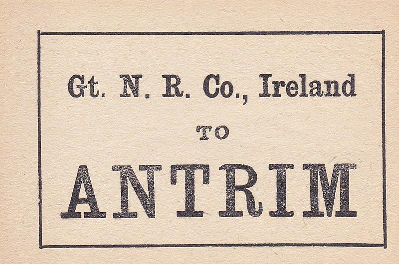 GREAT NORTHERN RAILWAY (IRELAND) LUGGAGE/PARCELS LABEL - ANTRIM.