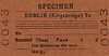 CORAS IOMPAIR EIREANN TICKET - DUBLIN KINGSBRIDGE - Specimen Second Class Single to blank destination, dated September 4th, 1962.