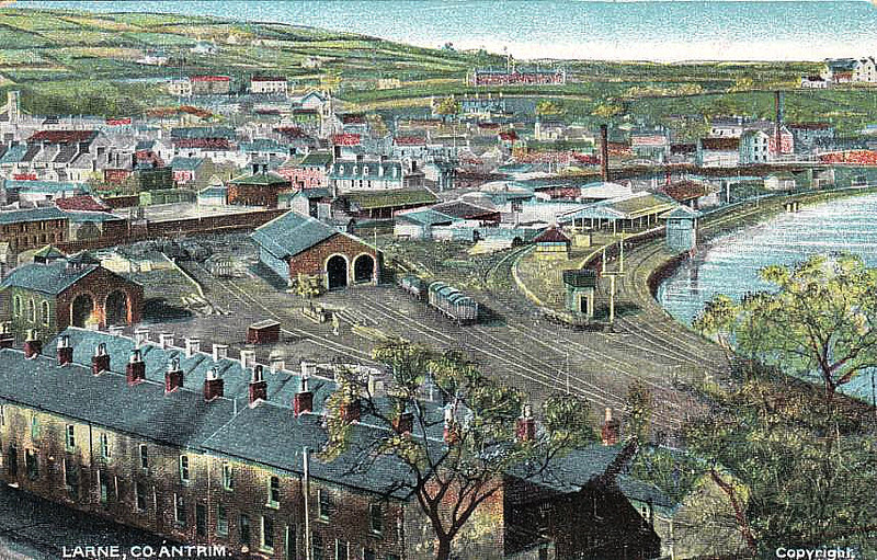 LARNE HARBOUR STATION - this station was opened in 1865 to provide a railway connection between ferries from Scotland and England and Belfast. The site was very cramped and the original station replaced in 1985 by a much more basic and smaller establishment.