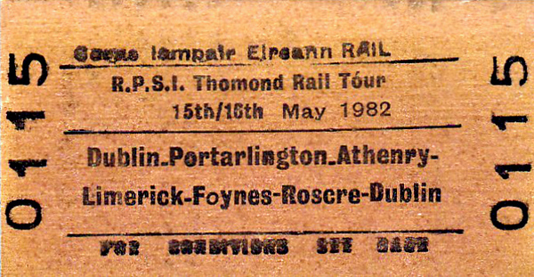 CORAS IOMPAIR EIREANN TICKET - DUBLIN - RPSI 'Thomond' Rail Tour to Limerick and return - Class S 4-4-0 No.171 SLIEVE GULLION took the train from Dublin Connolly to Athlone, where the train split. No.171 took one section to Limerick via Portarlington whilst Class J15 (101) 0-6-0 No.184 took the other via Athenry. On the second day, No.184 ran a short excursion to Foynes and then both engines took the train as far as Roscrea, where No.184 came off, and No.171 continued to Dublin Connolly and failed on arrival.