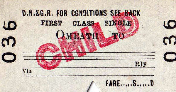DUNDALK, NEWRY & GREENORE RAILWAY TICKET - OMEATH - First Class Child Single to blank destination. I guess very few of these were ever issued as Omeath is just a small village with a population even today of only about 500. The railway closed in 1951.