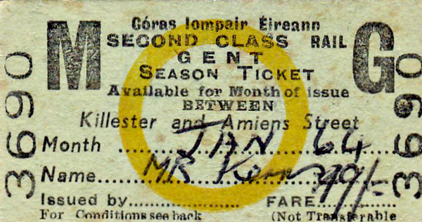 CORAS IOMPAIR EIREANN TICKET - KILLESTER to DUBLIN AMIENS STREET - Second Class Monthly 'Gent' Season Ticket issued to Mr. Kerny (?), fare 49s 0d - dated January 1964.