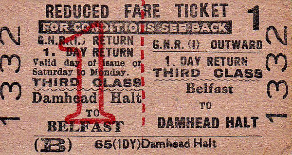 GREAT NORTHERN RAILWAY (IRELAND) TICKET - BELFAST - Third Class Day Return to Damhead Halt. This station served the village of Maghaberry in County Down and was closed by NIR in 1973.