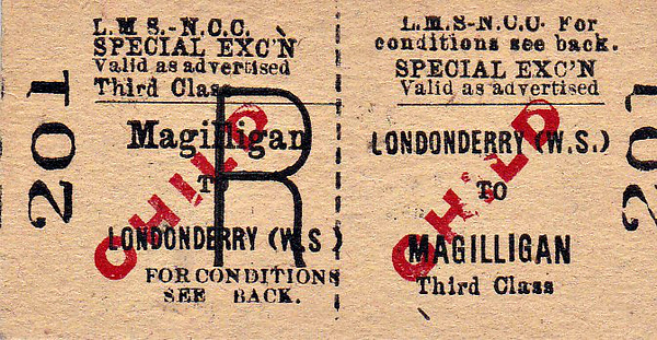 LMSR/NORTHERN COUNTIES COMMITTEE TICKET - LONDONDERRY (Waterside) - Third Class Special Excursion Child Return to Magilligan.
