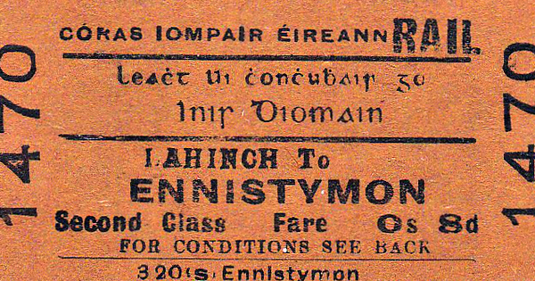CORAS IOMPAIR EIREANN TICKET - LAHINCH - Second Class Single to Ennistymon, fare 8d.