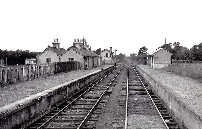 DRUMREE STATION - located 16 miles north west of Dublin in County Meath, on the Dublin - Navan line, the station opened in 1862 and closed to passengers in January 1947 and goods traffic in June 1961 - seen here 09/53.