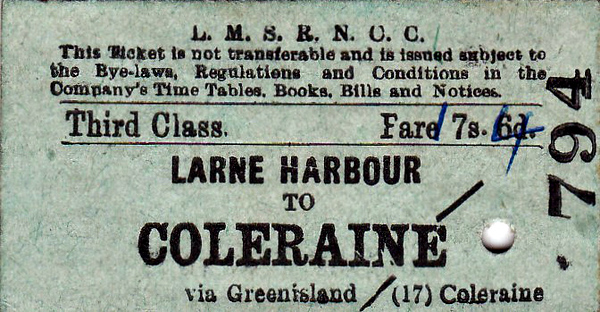 LMSR/NORTHERN COUNTIES COMMITTEE TICKET - LARNE HARBOUR - Third Class Single to Coleraine - fare 17s 4d, changed by hand from 7s 6d - dated September 21st, 1961 - the LMS/NCC had ceased to exist in 1948!