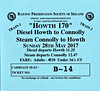 RAILWAY PRESERVATION SOCIETY OF IRELAND TICKET - DUBLIN CONNOLLY - 'Howth 170'- May 28th, 2107 - Two return specials ran on this day, the first hauled by Class K2 2-6-0 No.461 and the second by Class V 4-4-0 No.85 MERLIN. Both return trains were diesel hauled.