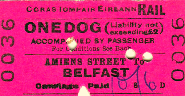 CORAS IOMPAIR EIREANN TICKET - DUBLIN AMIENS STREET - Dog Accompanied by Passenger to Belfast - fare 10s 6d - clipped but not dated.