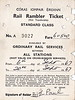 CORAS IOMPAIR EIREANN TICKET - RAIL RAMBLER TICKET (2) - Standard Class - folder type ticket, inner side - valid on all rail services except cross-border services, valid for two weeks for September 6th, 1967, coast £6 5s 0d, issued to Mr E Paul, who used it at least 14 times!