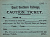 GREAT SOUTHERN RAILWAYS - CAUTION TICKET - This ticket would be completed and handed to a driver to allow him pass signals at danger - print date September 1934.