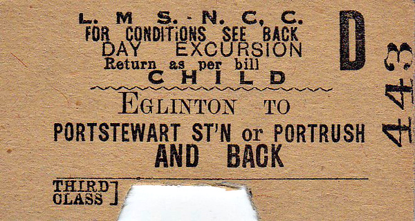 LMSR/NORTHERN COUNTIES COMMITTEE TICKET - EGLINTON - Third Class Child Day Excursion Return to Portstewart or Portrush - clipped but not dated.