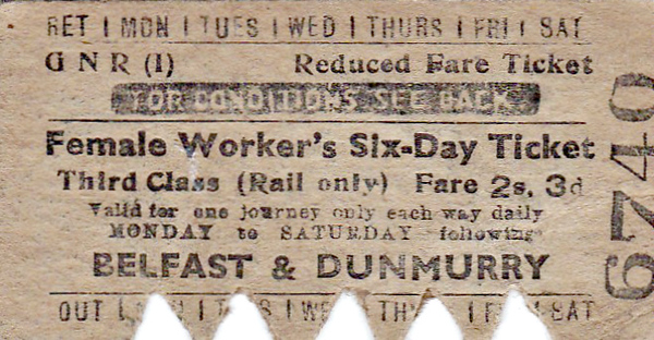 GREAT NORTHERN RAILWAY (IRELAND) TICKET - BELFAST - Third Class Female Worker's Six Day Return to Dunmurry, fare 2s 3d - dated January 16th, 1956.