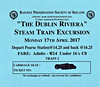 RAILWAY PRESERVATION SOCIETY OF IRELAND TICKET - DUBLIN PEARSE - 'Dublin Riviera' - April 17th,2017 - Class WT 2-6-4T No.4 worked two specials from Pearse to Greystones on that day. Valid on Train 2, the second train of the day. Note the cheap fare.