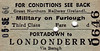 GREAT NORTHERN RAILWAY (IRELAND) TICKET - PORTADOWN - Third Class Military on Furlough Single to Londonderry, via Beragh - dated September 5th, 1960.