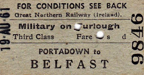 GREAT NORTHERN RAILWAY (IRELAND) TICKET - PORTADOWN - Third Class Furlough Single to Belfast - dated August 19th, 1961.