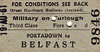GREAT NORTHERN RAILWAY (IRELAND) TICKET - PORTADOWN - Third Class Furlough Single to Belfast - dated August 19th, 1961.