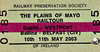 RAILWAY PRESERVATION SOCIETY OF IRELAND TICKET - DUBLIN HEUSTON - RPSI 'Plains of Mayo' Rail Tour - A 3-day rail tour covering May 10th - 12th, 2003, this ticket valid for days one and two. Class V 4-4-0 No.85 MERLIN hauled the train from Dublin Heuston to Claremorris on the 10th, On the 11th, Class W 2-6-4T No.4 took over from Claremorris to Ballina and then back to Dublin Connolly where No.85 picked it up and took to Belfast Great Victoria Street.
