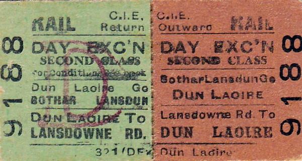 CORAS IOMPAIR EIREANN TICKET - LANSDOWNE ROAD to DUN LAOIRE - Second Class Day Excursion Return Ticket.