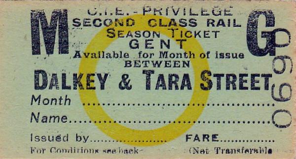 CORAS IOMPAIR EIREANN TICKET - DALKEY to DUBLIN (Tara Street) - Second Class Gent's Monthly Season Ticket.