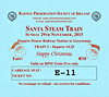 RAILWAY PRESERVATION SOCIETY OF IRELAND TICKET - DUBLIN PEARSE - 'Santa Steam Train' - November 29th, 2015 - Class WT 2-6-4T No.4 worked two specials from Pearse to Greystones on that day. Valid on Train 5, the second train of the day.