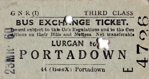 GREAT NORTHERN RAILWAY (IRELAND) TICKET - LURGAN - Third Class Bus Exchange Single to Portadown - dated March 23rd, 1960.