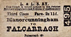 L&LSR TICKET - MANORCUNNINGHAM - Third Class Single to Falcarragh, fare 2s 11d.
