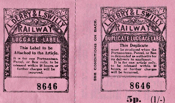 L&LSR LUGGAGE LABEL - A reproduction (quite obviously!) of an L&LSR luggage label with left hand part gummed.