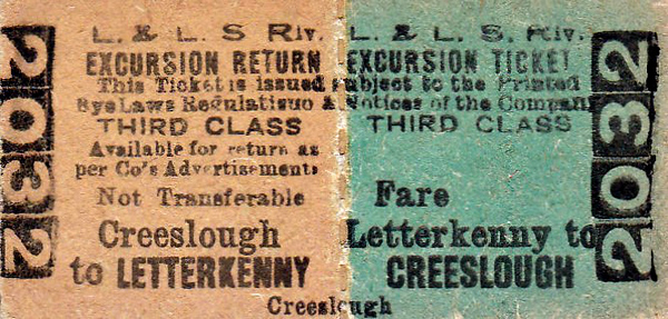 L&LSR TICKET - LETTERKENNY - Third Class Excursion Return to Creeslough.
