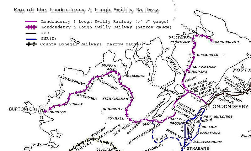A ROUTE MAP OF THE LONDONDERRY & lOCH SWILLY RAILWAY - The Londonderry and Lough Swilly Railway Company was a public transport and freight company that operated in parts of County Londonderry and County Donegal between 1853 and 2014. Incorporated in June 1853, it once operated 99 miles of railways. It began the transition to bus and road freight services in 1929. It closed its last railway line in July 1953 but continued to operate bus services under the name Lough Swilly Bus Company until April 2014, becoming the oldest railway company established in the Victorian era to continue trading as a commercial concern into the 21st century. The company went into liquidation and operated its final bus services on 19 April 2014.<br /> The company opened its first line, an Irish Standard Gauge line between Derry and Farland Point on December 31st, 1863. A branch line between Tooban Junction and Buncrana was added in 1864 and much of the Farland Point line was closed in 1866.<br /> In 1883 the 3 foot  gauge Letterkenny Railway between Cuttymanhill and Letterkenny was opened and the L&LSR connected with it by reopening the Tooban Junction - Cuttymanhill section of its Farland Point line. The L&LSR worked the Letterkenny Railway and in 1885 it converted its own track to 3 foot narrow gauge to enable through running. Carndonagh was reached by an extension completed in 1901 and Burtonport by a one completed in 1903. Both lines were constructed as joint ventures with the UK Government, with ownership and liabilities shared between the two parties.<br /> From 1929 the company began to acquire bus assets throughout Donegal. Further expansion followed rapidly. It entered profitability in the early 1930's for the first time as a result of these ventures. Acquisition of freight operations followed, and this led to a reduction of rail services and eventual closure of lines. The Carndonagh branch was closed in about 1935 and the Burtonport line closing entirely in 1940, with a section te