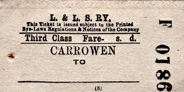 L&LSR TICKET - CARROWEN - Third Class Single to Blank Destination.