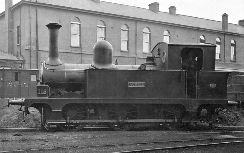 Class E - Atock 115 ACHILL - MGWR Class E 0-6-0T - built 1893 by Kitson & Co., Works No.3527 - 1925 to GSR No.560, 1932 bunker enlarged for services on Tramore line, 1945 to CIE - 1963 withdrawn - seen here at Broadstone Works.