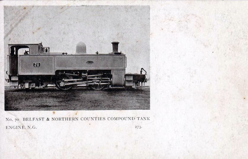 BELFAST & NORTHERN COUNTIES RAILWAY -  70 - 2-4-2T, Class S 2-cylinder compound, built 1892 by Beyer Peacock - 1897 to B&NCR No.111, 1903 to NCC(MR), 1923 to NCC(LMS), 1949 to UTA as No.44 - withdrawn 1954.