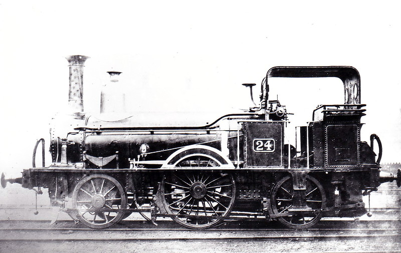 BELFAST & NORTHERN COUNTIES RAILWAY - 24 - 2-2-2WT - built 1855 by Fairbairn & Co. for the Belfast, Ballymoney, Coleraine & Portrush Junction Railway as No.7 (?) - 1861 to B&NCR as No.24 - 1898 withdrawn.