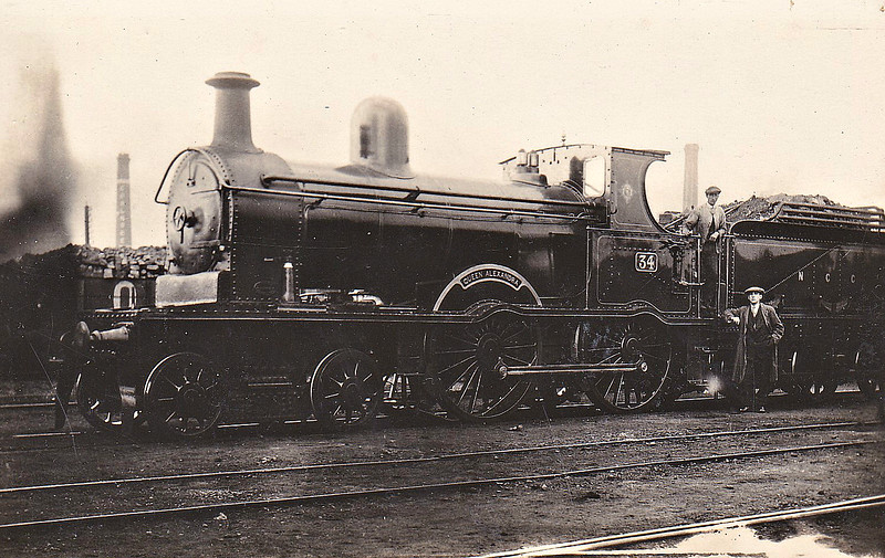 Class A - 34 QUEEN ALEXANDRA - B&NCR Class A 4-4-0 - built 1901 by York Road Works - 1903 to MRNCC, 1923 to LMSNCC - 1928 rebuilt as Class A1 - 1932 renamed KNOCKLAYD - 1934  name removed - 1950 withdrawn - seen here as built.
