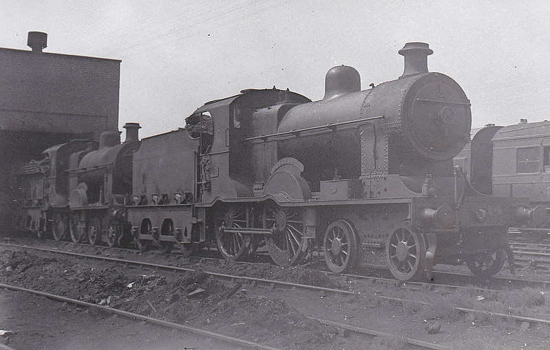 Class A1 - 34 KNOCKLAYD - B&NCR Class A 4-4-0, built 1901 by York Road Works as No.34 QUEEN ALEXANDRA - 1903 to MR/NCC, 1923 to LMS/NCC, 1928 rebuilt with Belpaire boiler as Class A1, 1932 renamed KNOCKLAYD, 1948 to UTA - 1950 withdrawn - seen here at York Road in June 1948.