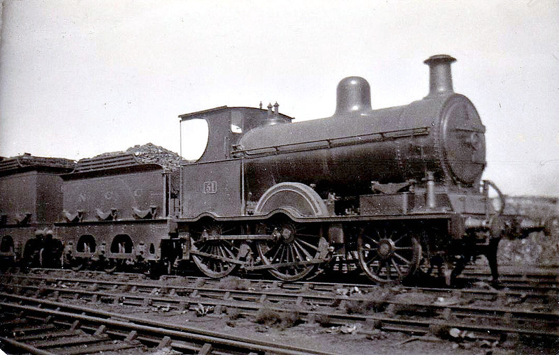 Class B1 - 51 - B&NCR Class C 2-4-0, built 1890 by Beyer Peacock & Co., Works No.3200 - 1903 to MR(NCC), 1923 to LMS(NCC), 1926 rebuilt to Class B1, 1928 to NCC rebuilt with Belpaire boiler to Class B3 4-4-0 and to No.21 - withdrawn 1947 - seen here at Belfast York Road.