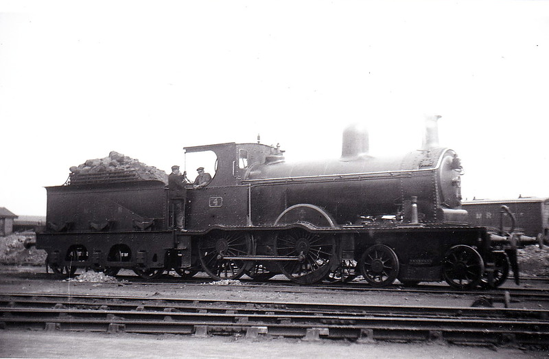 Class A - 4 - B&NCR Class A 4-4-0 - built 1903 by York Road Works as NCC No.4 - 1923 to NCC(LMS) - 1924 to NCC No.62, 1928 rebuilt with superheated Belpaire boiler to Class A1, 1930 named SLEMISH 1949 to UTA - 1954 withdrawn - seen here at Belfast in May 1924.