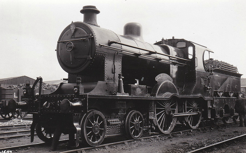 Class A1 - 69 SLIEVE BANE - MRNCC Class A 4-4-0 - built 1904 by Derby Works as MRNCC No.9 - 1923 to LMSNCC - 1925 to LMSNCC No.69 - 1933 rebuilt to Class A1 (Belpaire Superheated Boiler), named SLIEVE BANE - 1949 to UTA - 1954 withdrawn.