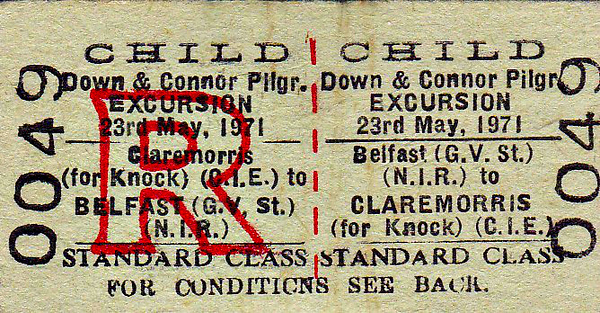 NIR TICKET - BELFAST GREAT VICTORIA STREET - Standard Class Down-Connor Pilgrimage Child Return to Claremorris for Knock, fare 87s 9d - dated May 23rd, 1971.