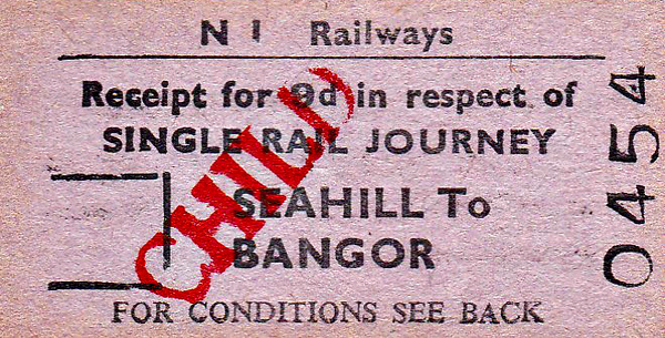NIR TICKET - SEAHILL - Child Excess Fare Single to Bangor, fare 9d.