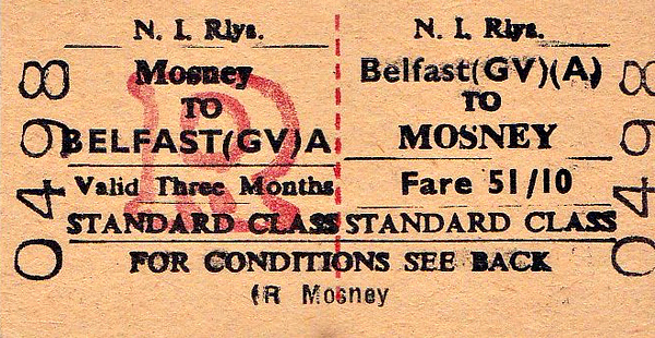 NIR TICKET - BELFAST GREAT VICTORIA STREET - Standard Class Return to Mosney, fare 51s 10d. Mosney was the location of Butlin's Holiday Camp.