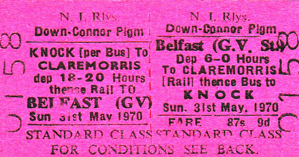 NIR TICKET - BELFAST GREAT VICTORIA STREET - Standard Class Down-Connor Pilgrimage Return to Claremorris and thence by bus to Knock, departing at 0600 and returning at 1820, fare 87s 9d - dated May 31st, 1970.