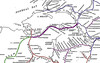A ROUTE MAP OF THE SLIGO, LEITRIM & NORTHERN COUNTIES RAILWAY - The SL&NCR Company was incorporated in 1875, and its construction started at a junction with the Great Northern Railway (GNR(I)) at Enniskillen and proceeded westwards, opening as far as Belcoo in 1879, Manorhamilton in 1880, Collooney in 1881 and Carrignagat Junction on the Midland Great Western Railway (MGWR) opened in 1882, completing a line of about 43 miles. Beyond Carrignagat Junction the SL&NCR exercised running powers over the MGWR to and from Sligo. In 1895 the Waterford, Limerick and Western Railway (WL&WR) was extended to Collooney, forming junctions with the MGWR and SL&NCR. This gave access to a larger area of western Ireland, whose cattle exports formed a significant part of the SL&NCR's traffic. The SL&NCR was one of the railways that the Irish Free State's Great Southern Railways did not absorb in 1925 because it crossed the border with Northern Ireland. It became the last privately owned railway undertaking to survive in Ireland. The company never prospered since the countryside it crossed was poor and sparsely populated, although at one time intermittent heavy cattle traffic used the line. Governments on both sides of the border subsidised the railway in its later years, but the SL&NCR closed on October 1st, 1957, as a result of the Government of Northern Ireland making the GNR Board close its line through Enniskillen.