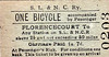 SL&NCR TICKET - FLORENCECOURT - One Bicycle Accompanying Passenger, fare 1s 7d - note that the ticket is only valid for journeys of up to 50 miles. As the SL&NCR mainline was only about 43 miles long,  journeys of over 50 miles would have been a bit difficult!