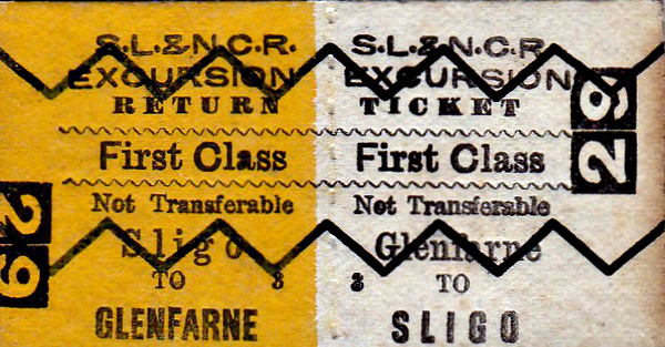 SL&NCR TICKET - GLENFARNE - First Class Excursion Return to Sligo.